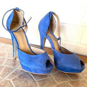 Blue suede peep-toe pumps by ALDO. Size 37 US 7